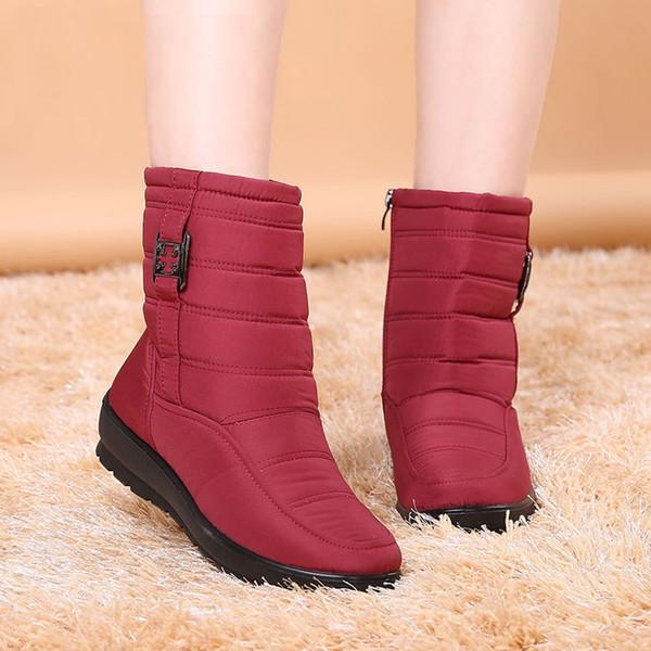 Nouveau hiver neige bottes femmes chaussures bottes mi-mollet décontracté fermeture éclair hiver chaud imperméable à l'eau plus velours coton chaussures femmes