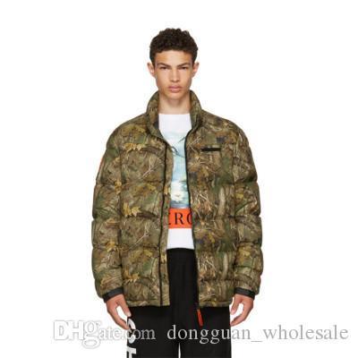 New Thick Warm Jacket Men Women Heron Preston Camouflage Jacket Leaf Printed Winter Coats Men 2018