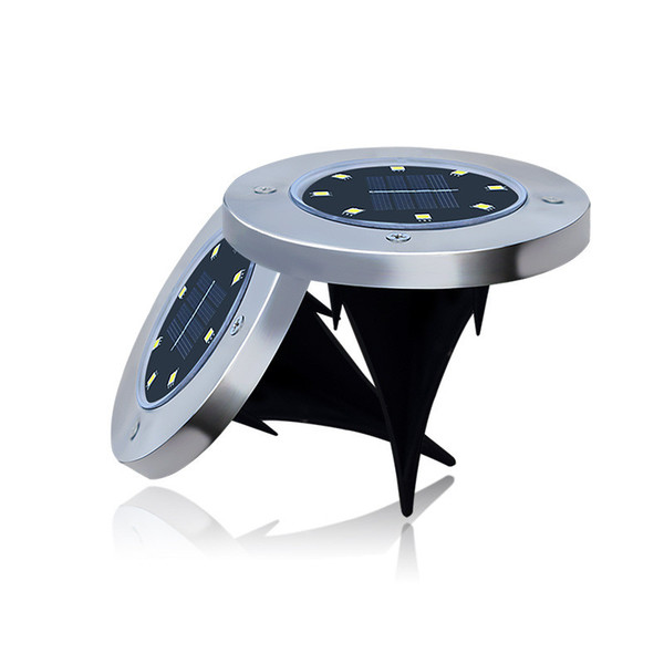 Solar Powered 8 LED Lighting Buried Ground Underground Light for Outdoor Path Garden Lawn Landscape Decoration Lamp