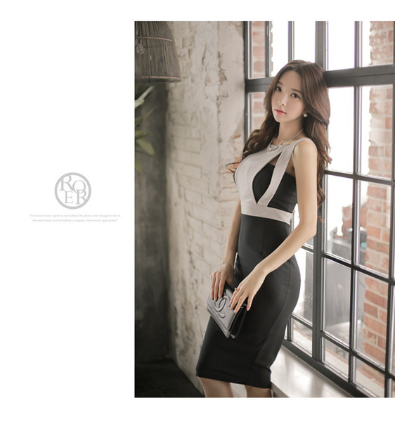 2019 Summer New Korean Women Stitching Round Neck Backless Holloowing Dress Temperamental Commuters Hip Mid Length Skirt A0064