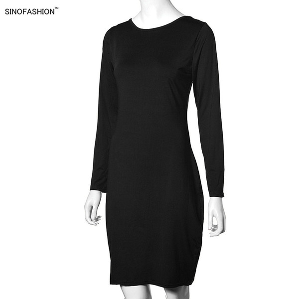 dress Ms Sexy nightclub Party Tight dress Solid color Back zipper Long sleeve Slim fit knee Long skirt factory wholesale