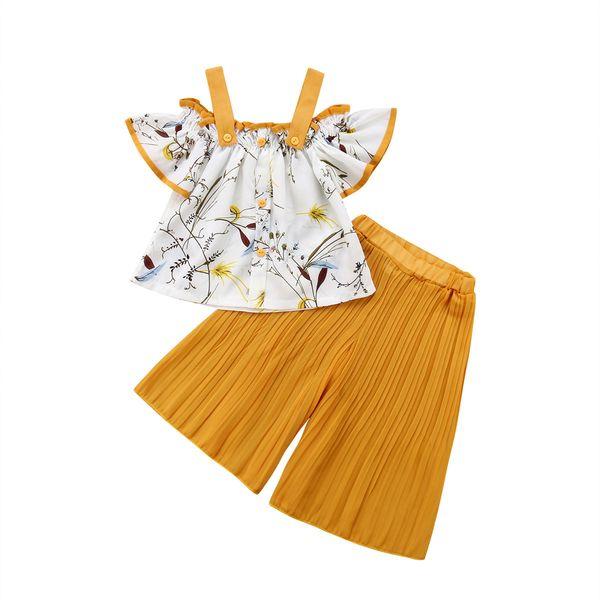 designer-1-6y toddler kids baby girl off shoulder floral t-shirt +ruffles wide leg pant trouser 1pcs outfits fashion children clothes