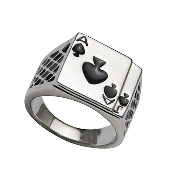 2019 Men's Personality Spades A Heart Shaped Poker Rings Retro Heart Shaped Poker Ring Men's Jewelry Silver Men's Ring