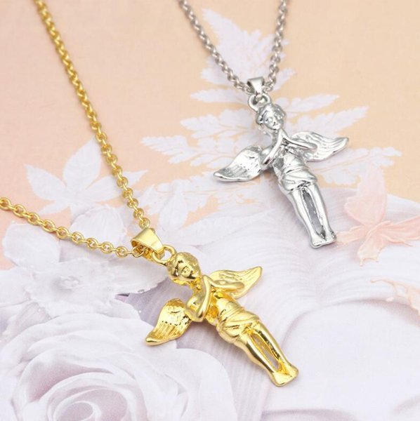 European and American Gold Silver Plated Fashion Angel Wings Pendant Necklace Hip Hop Men Jewelry Wholesale