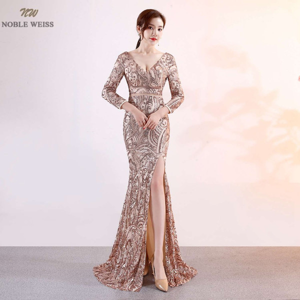 NOBLE WEISS New Arrival Prom Dress Sequined Deep V Neck Sexy Thigh High Slits Slim Simple Corset Luxurious Mermaid
