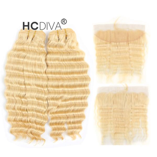 Malaysian Virgin Deep Wave 613 Blonde Bundle Cheveux avec Dentelle Frontale 13 * 4 pouce Profond Curl Honey Blonde Cheveux Extensions
