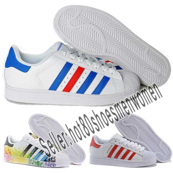 Compre 2019 Designer Shoes Adidas 80s Men Women Hot Cheap Superstar 80S Hombres Mujeres Zapatos De Baloncesto Ocasionales Zapatos De Skate Rainbow