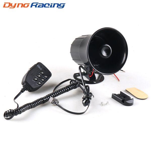 best selling 12V 50W 120dB 6 Sound Car Warning Alarm Loud Speaker Siren Air Horn Loudspeaker with MIC Microphone for Automobile Motorcycle