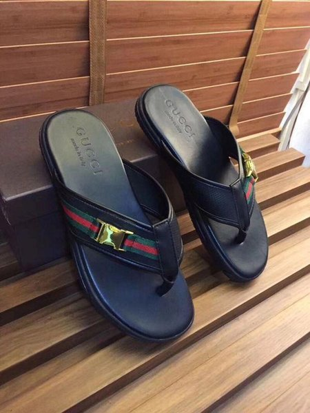 New Black Flip Flops 2099009 Men Slippers Slippers Drivers Sandals Slides Sneakers Princetown Leather Slipper Real Leather Shoes