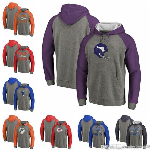 Colts Chiefs Ladegeräte Rams Dolphins Vikings Pro Line von Fanatics Branded Timeless Collection - Antiker Stapel-Tri-Blend-Raglan-Pullover