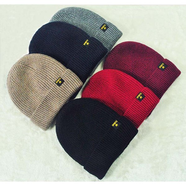 Men Beanies thick with velvet Twist Thread Knitted Hat Design crochet in winter male's Skullies caps good quality