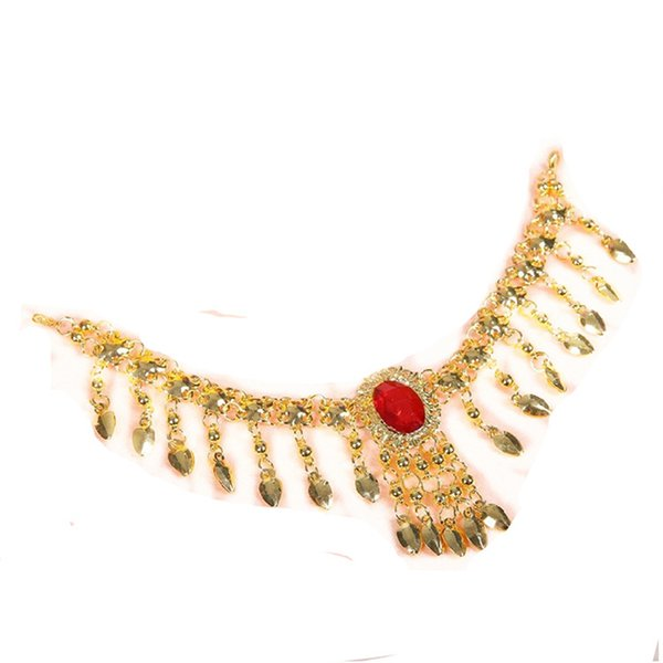 Belly dance belly dance gold necklace Indian performances jewelry accessories Indian Hair Accessory Collapsibility