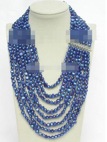 "17 ""-24"" 8row Baroque navy blue pearl necklace 925 silver clasp"