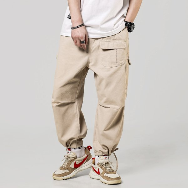 Men Hip Hop Cargo Pants Cotton Loose Baggy Army Trousers Multi-Pocket Tactical Pants Casual Streetwear Joggers