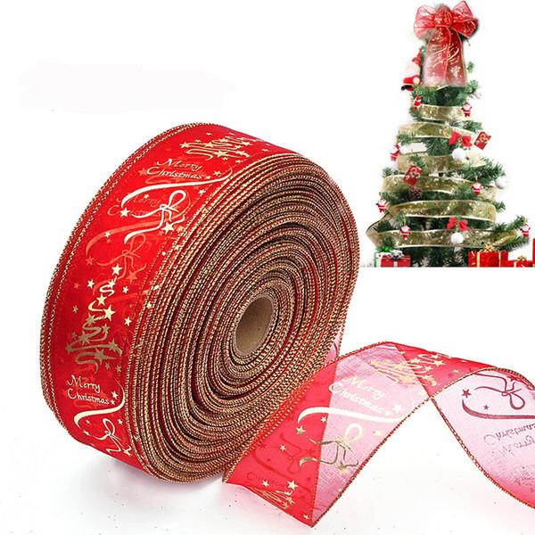 200CM Christmas Ribbon For Christmas Tree Decoration DIY Gift Box Bow Decorations Xmas Tree Hanging Ornament
