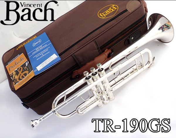 Bach TR-190GS Bb Tune Trumpet Silver Plated Pipe Body Plated B Flat Trumpet Professional Performance Musical Instrument with Case