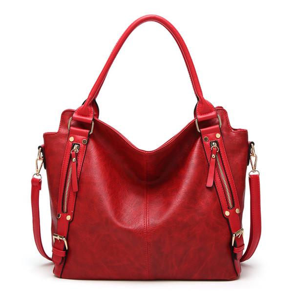 Big Women Bag Handbag Soft Leather Large Tote Bag Solid Color Female Fashion Shoulder Bags Black Red Brown Office Lady Handbags