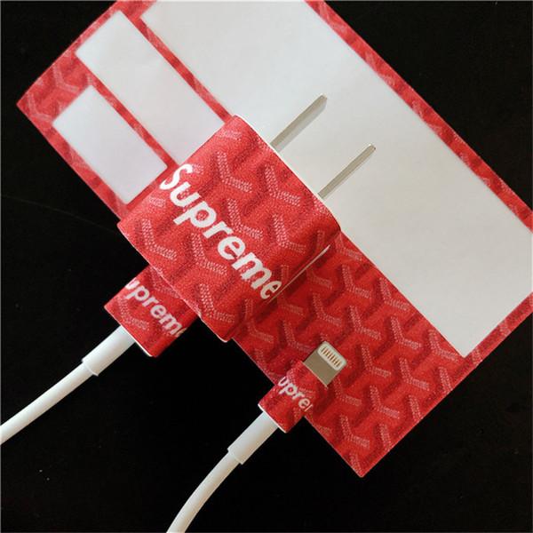 Kırmızı SUP Mektubu Şarj Çıkartmalar Yeni Moda Küçük Kare Apple Şarj Için Yüksek Kalite Koruma Sticker