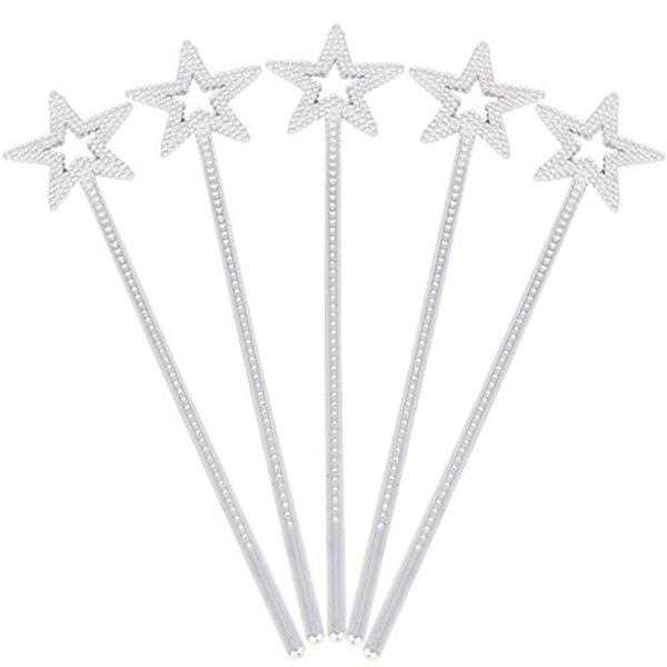arty DIY Decorations 5pcs Fairy Star Princess Wands Star Shape Wands with Beads for Kids Birthday Halloween Cosplay Party Decoration Supp...