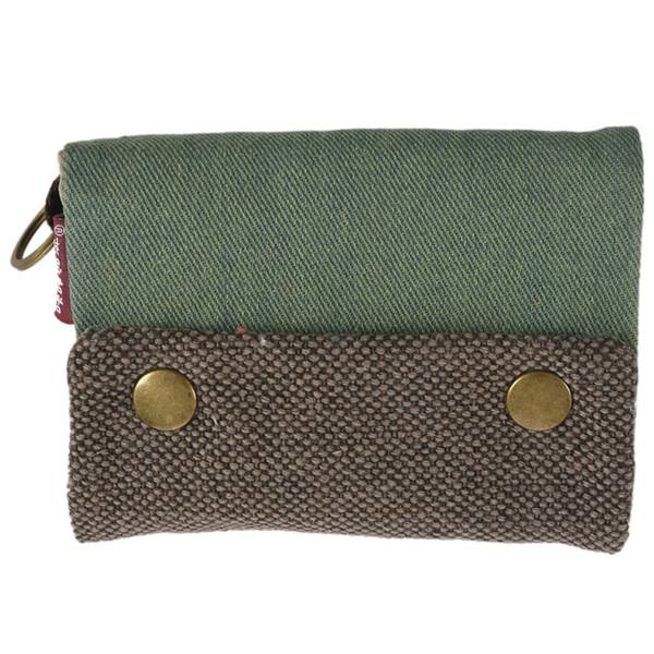 Três Camada dobrado Bag manual Carteira de lona das mulheres homens unisex Com Titular Multi Card, bolsa multifuncional Coin da menina do menino (verde)