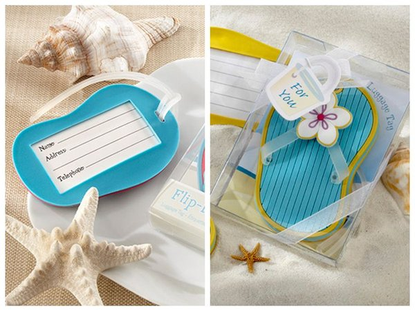 (25 Pieces/lot) Wedding favors Flip-Flop Luggage Tag in Beach-Themed Gift Box For Party Decoration Guest Gifts and Beach gift