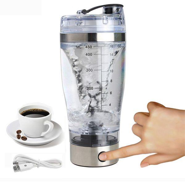 2018 450ml Torq Electric Protein Shaker Usb Shaker Bottles Milk Coffee Blender Water Bottle Movement Vortex Tornado Smart Mixer Q190430