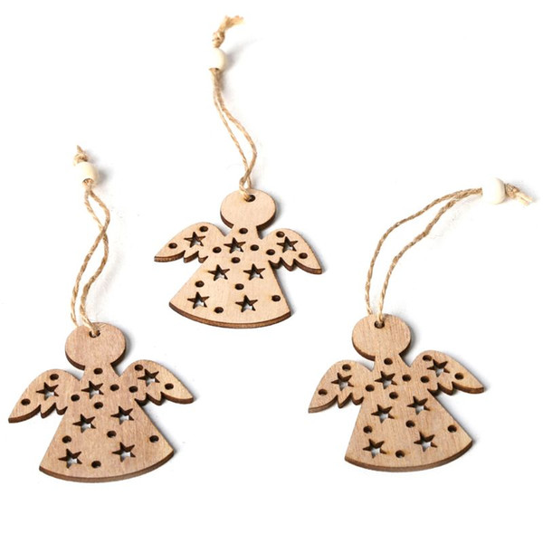 Hot Sales 3pcs/set Vintage Christmas Tree Angel Hanging Pendants with Rope Beads Ornament Wooden DIY Crafts Party Decor Gift