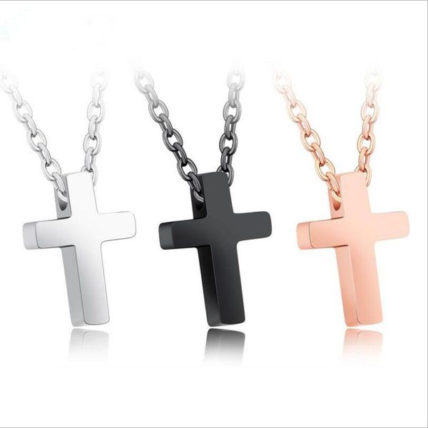 New Unisexs Stainless Steel Cross Pendant Link Chain Mens Rose Gold Black Silver Necklace Jewelry Gift