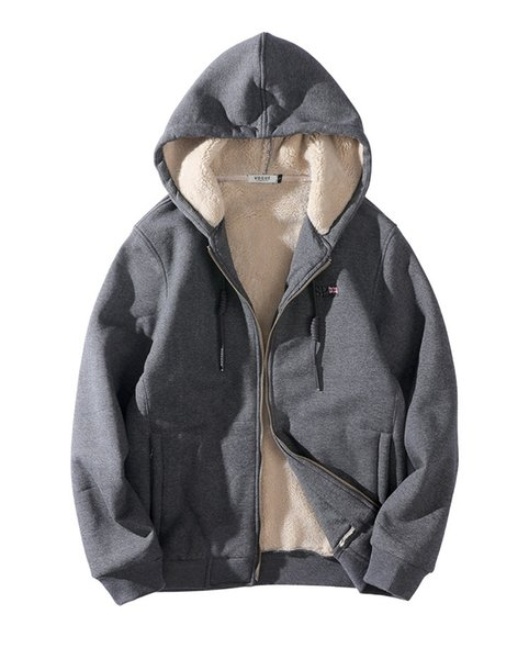 Large Size Mens Thick Sweatshirts 3 Colors Fleece Hooded Cardigans Ribber Long Sleeve Jackets for Winter L - 8XL