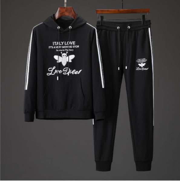 Мужские костюмы Бренд с капюшоном Брюки с принтом Письмо Спортивные костюмы Одежда хип-хоп Мужские брюки Спортивный костюм Мужские толстовки с двумя шт. Костюм брюки с длинными рукавами 03