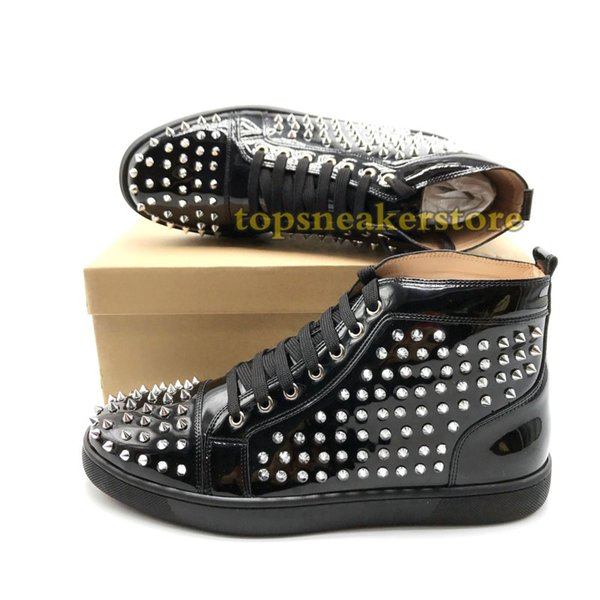 Luxury Designer Studded Spikes Sneakers men women Casual shoes black Party Lovers Rhinestones Leather Spikes glitter Girls Boots 02