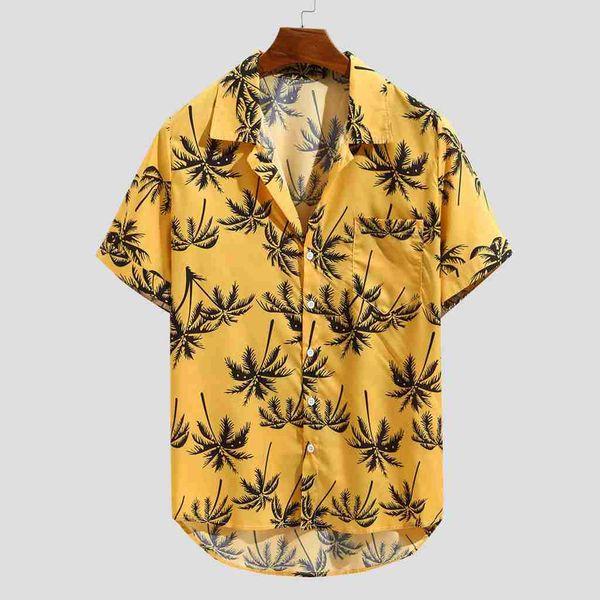Camisa Ocasional dos homens de Verão Havaiano Impresso camisa de manga Curta Casual Solto Beachwear Botões Masculinos Blusa Tops Camisas hombre