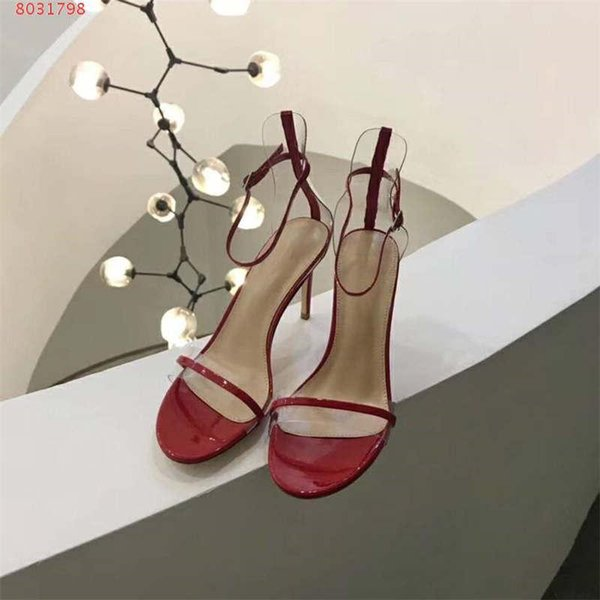 Trend High Heels Women Sandals, Mid Crystal Transparent Sole Black Leather Pumps for Fashion Lady in Party Wedding