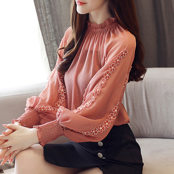 2019 Spring New Arrival Fairy Lace Stitching Bright Silky Lantern Sleeve Chiffon Blouse Stand Collar Ruffle Blouse Free Shipping