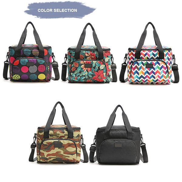 NEW Lunch Insulated Bag Handbag Oxford Cloth Printing Double Layer Portable For Picnic Travel