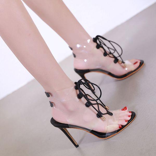 sandals heels women open toe PVC shoes platform pumps fetish high heels transparent shoes platform shoes summer Sandals lace up heels YMA703