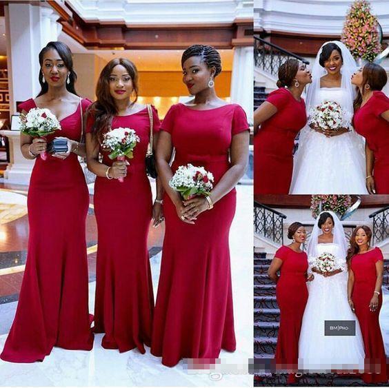 Южноафриканский темно-красный дешевые платья русалки невесты простой совок шеи спинки с короткими рукавами платье фрейлина свадебное платье для гостей