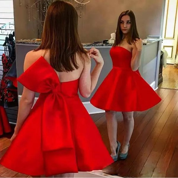 Red A-line Mini Homecoming Dresses Strapless Zipper Back with Bow Tie Prom Gown Satin Short Cocktail Dress 2019