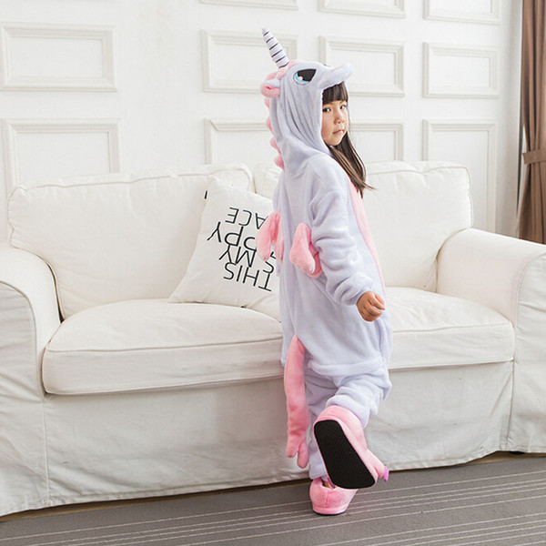Children Kigurumi Unicorn Pajama Kid Baby Anime Overall Totoro Jumpsuit Onesie Funny Stitch Onepiece Animal Carnival Cosplay J190520