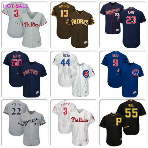 sport Mens Baseball Jersey Christian Yelich Manny Anthony Rizzo Javier Baez Bryce Harper Phillies refroidissent maillots de base flex Kole Calhoun 4XL
