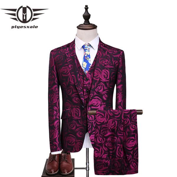 Plyesxale Floral Suit Men 2018 Purple Rose Flower Pattern Wedding Suits For Men 4XL 5XL Slim Fit Mens Party Prom Suits Q357