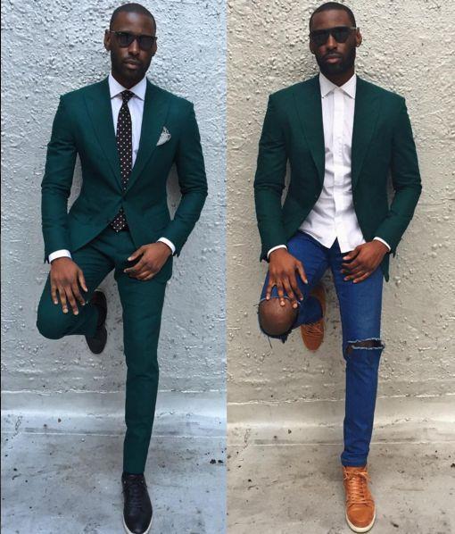 Classy Dark Green Slim Fit 2019 Groom Tuxedos Wedding Suits Custom Made Groomsmen Best Man Prom Suits (Jacket+Pants+Tie) Plus Size