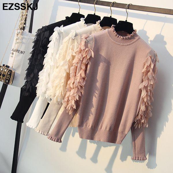 Korean Spring Autumn Loose Flowers Mesh Lantern Sleeves Sweater Ruffled Collar Knitted Women Sweater Pullover Femme Pull Tops