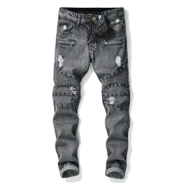 2019 Punk Style New Men's Fashion Holes Rivet Patchwork Jeans Gray Zipper Casual Slim Jeans Classic Trousers Denim Pants Male
