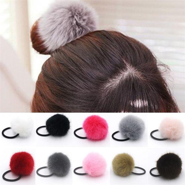 Lady girl Faux Fur Fluffy Ball Pom Pom Scrunchies pompon Elastic Ponytail Holder hair rope hair ties bobbles accessories BFJ647