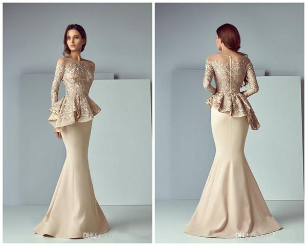 best selling 2020 Champagne Evening Formal Wear Dresses Lace Stain Popular Long jewel Neck Long Sleeve Dubai Arabic Saiid Kobeisy Mermaid Prom Dress