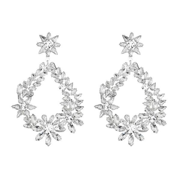 Luxury High Quality European Austrian Full Crystal Big Earrings Alloy Wedding Party Women Ladies Long Drop Earrings JCC092