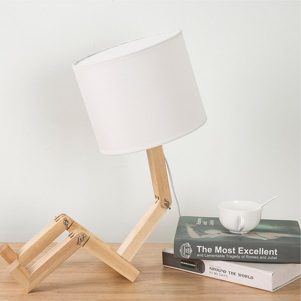 Wooden Minimalist Reading Table Lamps Creative Personality Robot Flexible Folding Small Table Light Wood Bedside Lamp Art Deco
