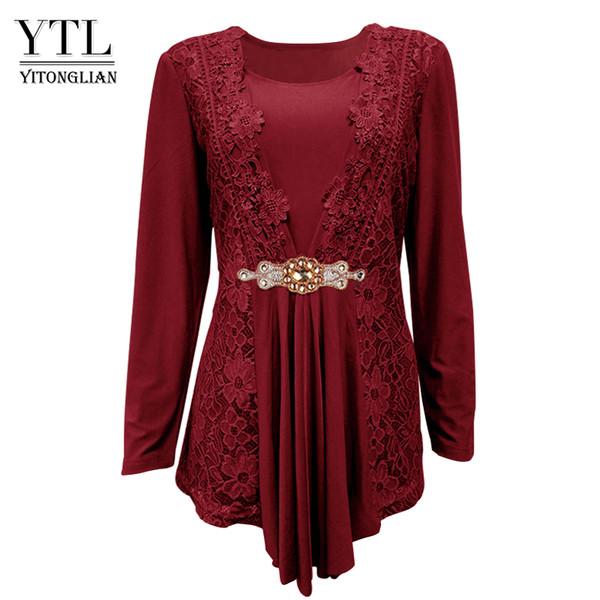 YTL Plus Size Mulheres Blusa Elegante Diamante Rendas Túnica Top Casual Tops Do Vintage Camisa de Manga Longa Preto Vermelho XXXL 4XL 8XL H025