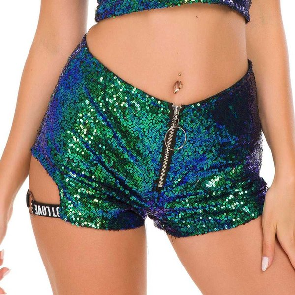High Waisted Sequined Shorts Sexy Women Cotton Super Mini Hot Summer Booty Shorts DJ Club Pole Dance Ladies